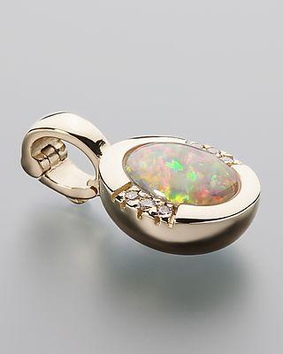 Anhänger mit Mintabie-Opal und Diamanten 6 Diamanten, insg. ca. 1,46 ct 585er Gelbgold, hochglanzpoliert bunt: Opal in Weiß, Grün, Rosa #terraopalis #terra opalis #opal #schmuck #edelsteine #jewelry
