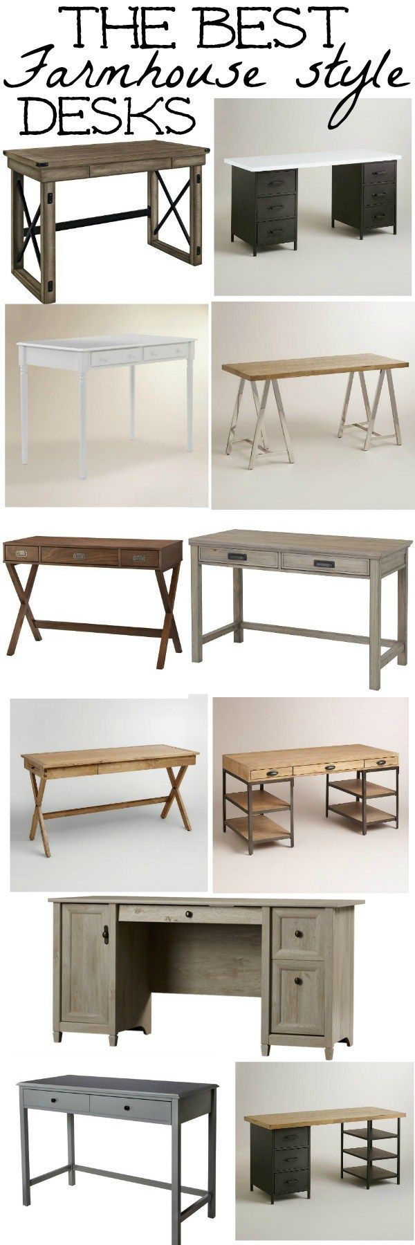 A great post filled with the best farmhouse style desks! A must pin for decorate your offices, living rooms, mini kitchen offices, & so much more!