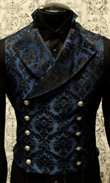 Shrine gothic vampire cavalier vest jacket victorian blue brocade goth steampunk