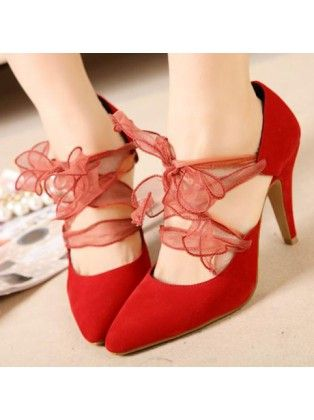 Pointed Toe Variety Of Worn Suede Red High Heels