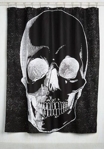 I need this!!! | Sanitary in the Membrane Shower Curtain - Black, White, Novelty Print, Print, Skulls