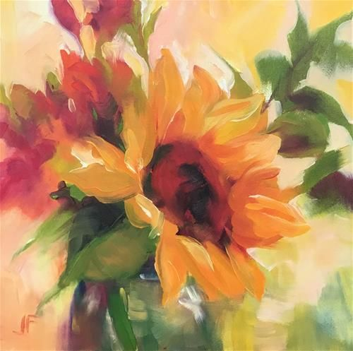 """Daily Paintworks - """"Sunflowers in a Vase"""" - Original Fine Art for Sale - © Jean Fitzgerald"""