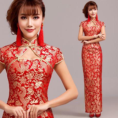 Lucky gold dragon brocade long qipao Chinese red mandarin collar high slit cheongsam bridal dress 006