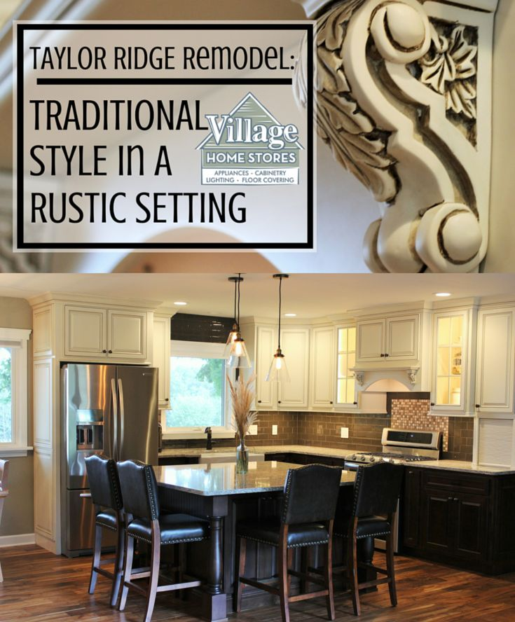 """Painted """"Pearl"""" wall cabinets paired with rich dark """"Mocha"""" stained base #cabinets in a #traditional styled #kitchen with a nod to #rustic elements.    