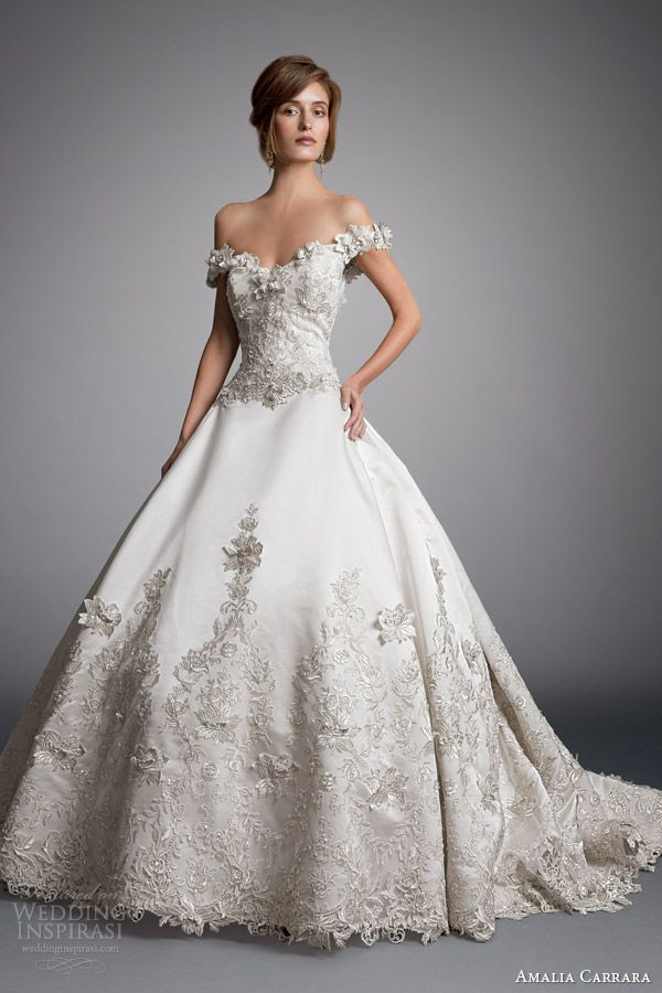 Amalia Carrara 2014 #bridal collection: off shoulder ball gown #wedding dress style 328 #weddingGown #weddingDress
