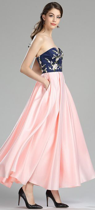 eDressit Strapless Blue & Pink Floral Satin Evening Dress