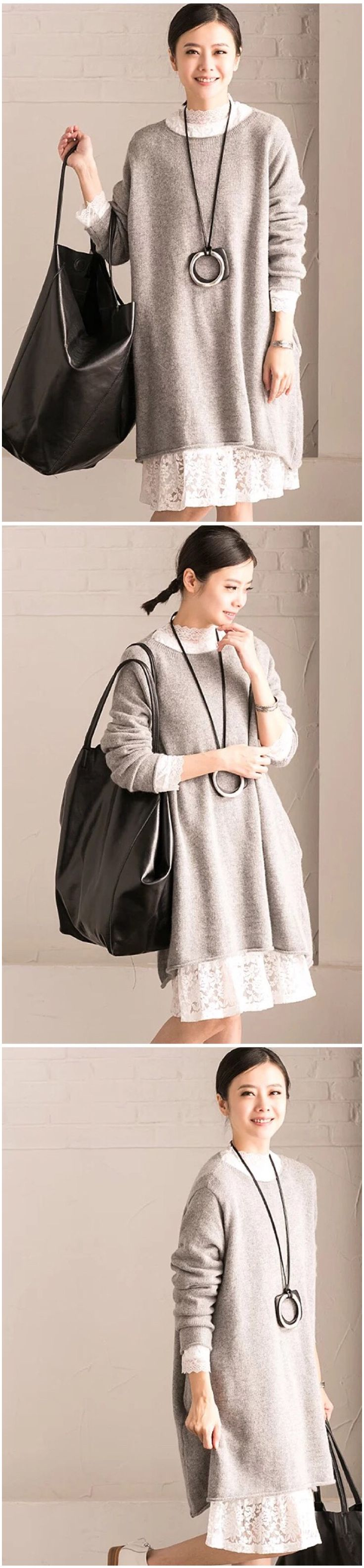 Gray loose sweater dress M220A
