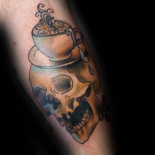 Coolest Coffee Cup Tattoo for Boy''s leg