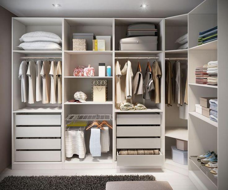 Contemporary Closet with Shag area rug, Closet system, Laminate floors, Ikea Pax Corner Section Frame, White