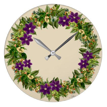 "Wreath ""Wow Purple"" Flowers Floral Clock - purple floral style gifts flower flowers diy customize unique"