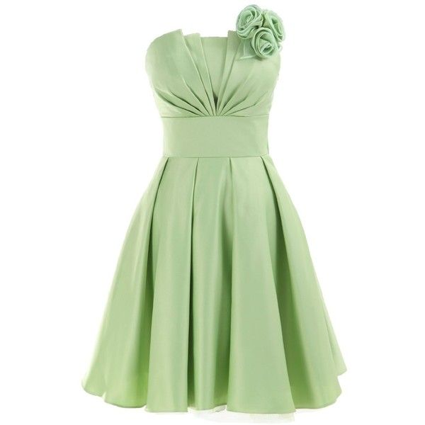 COCOMELODY Women's Flower Corset A-Line Knee Length Satin Dress ($57) ❤ liked on Polyvore featuring dresses, vestidos, green, short dresses, robe, satin mini dress, corset dress, satin dress, a line knee length dress and green corset dress