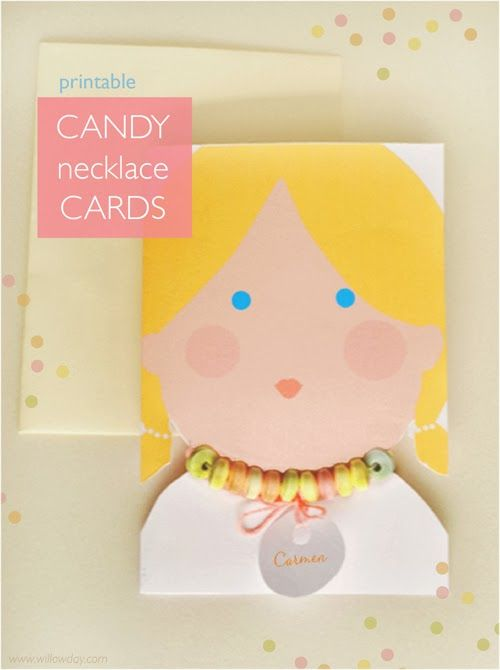 Printable Candy Necklace Cards at willowday with PDF printables in 4 kid variations + how to!