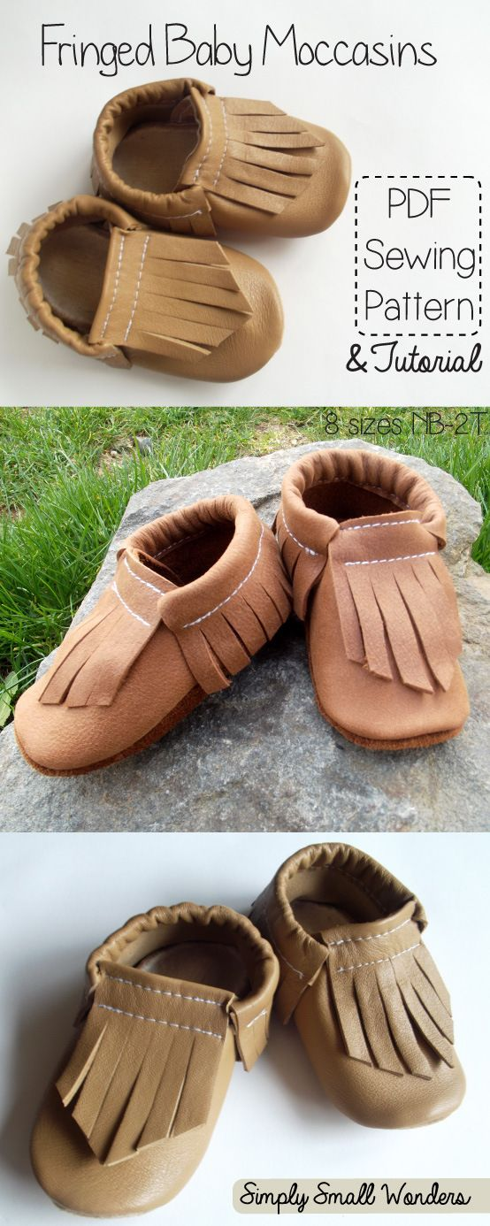 Free pattern and photo tutorial for baby moccasins from Simply Small Wonders