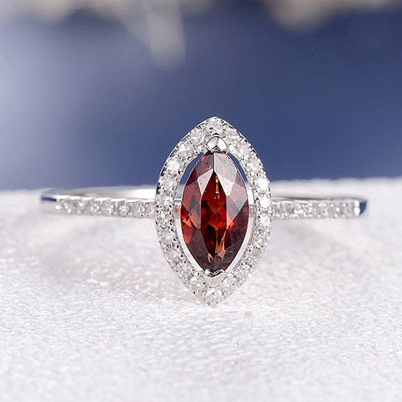 Garnet Engagement Ring Marquise Wedding Ring Halo Bridal