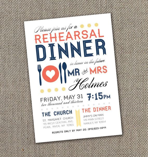 Modern Rehearsal Dinner Invitation 5 X 7  (Digital file)
