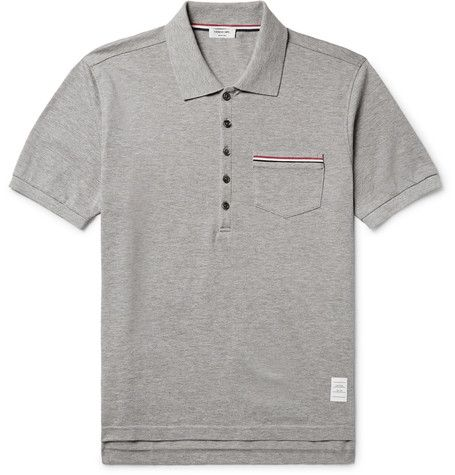 THOM BROWNE Slim-Fit Cotton-Piqué Polo Shirt. #thombrowne #cloth #polos