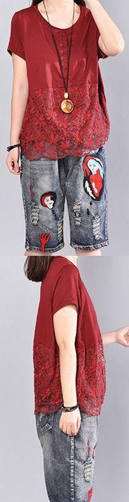 Fine red cotton blouse Loose fitting cotton cotton t shirt2018prints patchwork cotton clothing t shirt