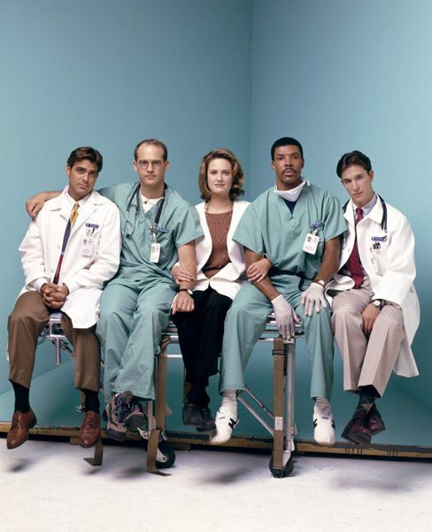The Original Cast Members Of ER Pose At A Portrait Session For Entertainment Weekly Magazine In From L R George Clooney Anthony Edwards