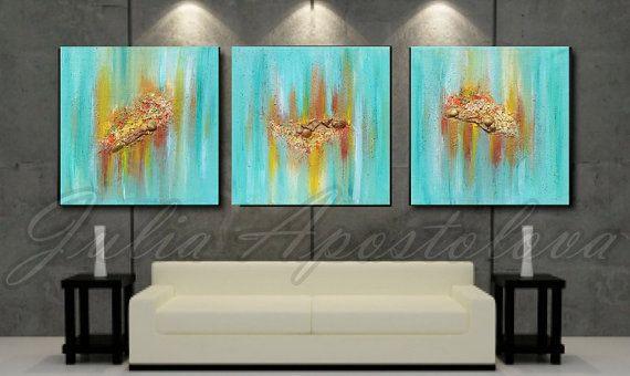 #original   #originalart    #triptych   #art   #landscape  #painting #Three #Part  #abstractart   #abstract   #abstractpainting   #handpainted   #rich #texture #turquoise   #seascape   #oceanpainting   #sea   #shell   #beach   #beachdecor   #maldives   '' #Maldivian #Memories ''  #ReadytoHang 2014 by #JuliaApostolova