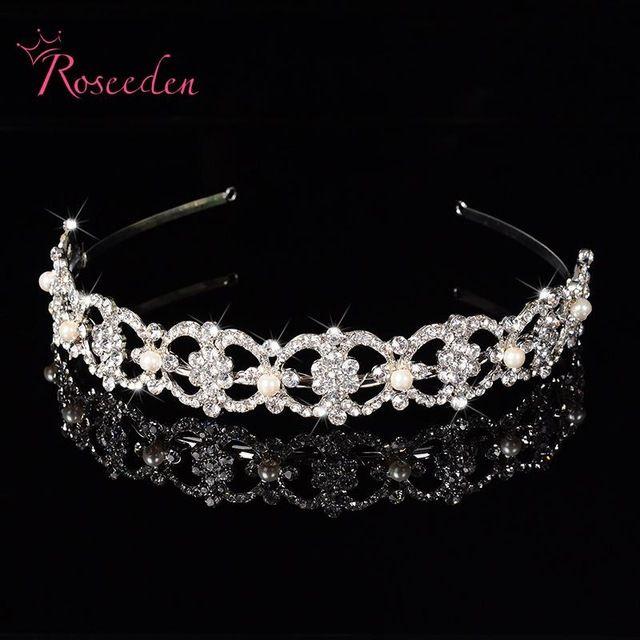 Роскошные горный хрусталь жемчужное повязка на голову серебряная свадьба ну вечеринку тиара ленты для волос свадебные аксессуары для волос девушки RE121