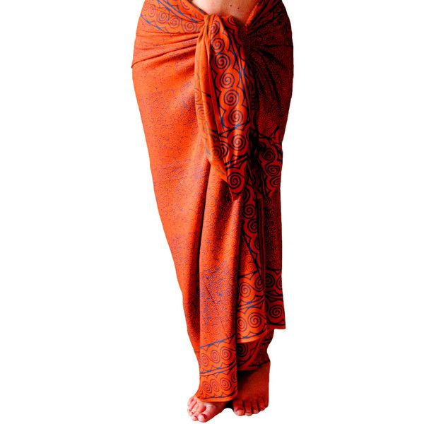 Orange and Blue Spiral Beach Sarong Women's or Men's Beach Clothing... ($39) ❤ liked on Polyvore featuring swimwear, cover-ups, grey, skirts, women's clothing, swim cover up, plus size beach wear, sarong cover up, plus size swim cover up and plus size cover ups