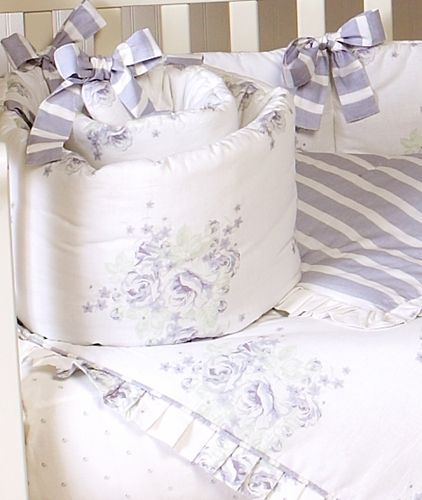 Lavender and Sage Floral Shabby Chic Baby Bedding - 9 pc Crib Set only $129.99
