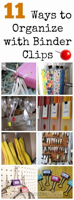 If you want an easy, cheap way to organize -- try binder clips! Not kidding -- they are easy to change by using paint or washi tape and come in all kinds of sizes! I've found 11 ways to use them to or