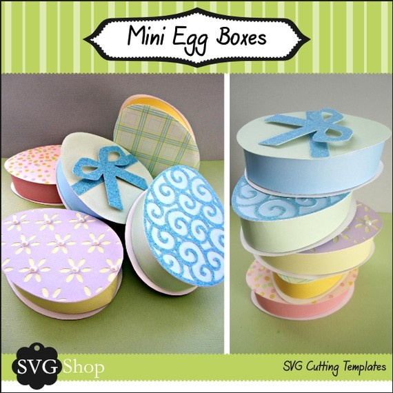 Mini Easter Egg Boxes SVG Files by svgshop on Etsy, $4.50: