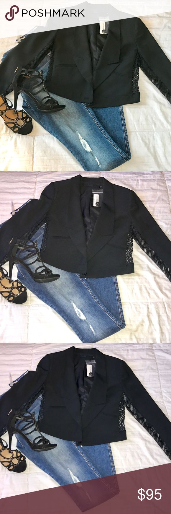 """L.A.M.B. - Tuxedo Lapel Cropped Wool Blend Jacket L.A.M.B. - NWT!! *Women's Black Tuxedo Lapel Cropped Wool Blend Jacket.  Long sleeves 26"""", Single Button front closure, 2 front welt pockets, Cropped measuring 20"""" from top to bottom,  mesh look on sides and under arm & fully Lined bodice.  Bust: 17"""" from armpit to armpit, (taken while laying flat). Shell: 43% wool, 53% polyester, 4% elastase. Dry clean. L.A.M.B. Jackets & Coats Blazers"""