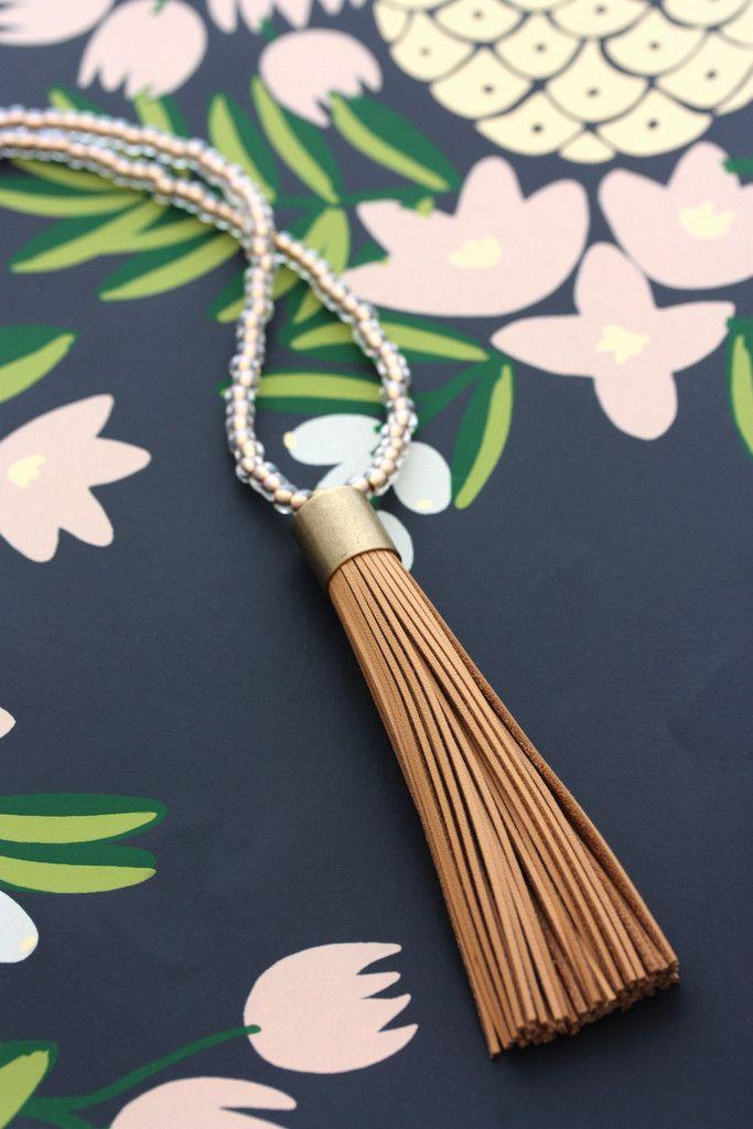 Leather Tassel Necklace - Tan