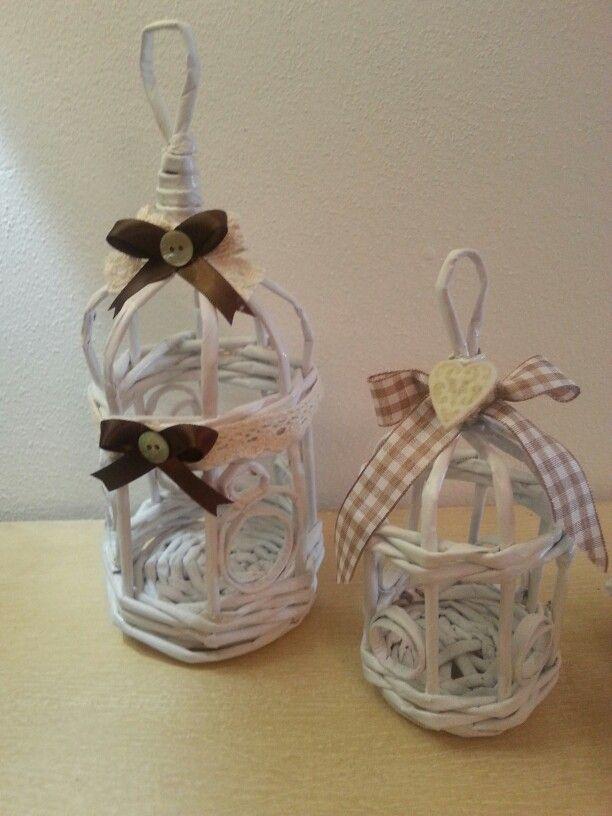 Gabbiette mignon Gira e Rigira handmade carta di giornale