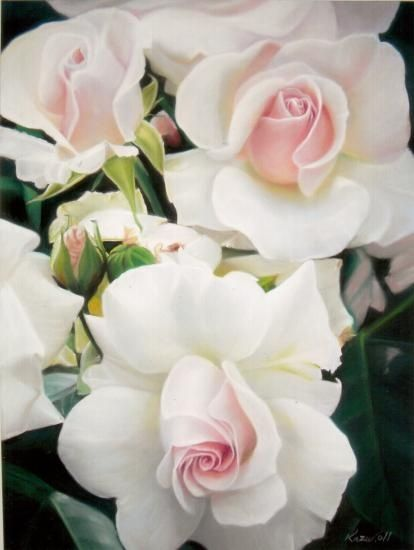 "gorgeous white roses with pink hearts - I had roses like this called ""White Delight"" Jackson & Perkins"