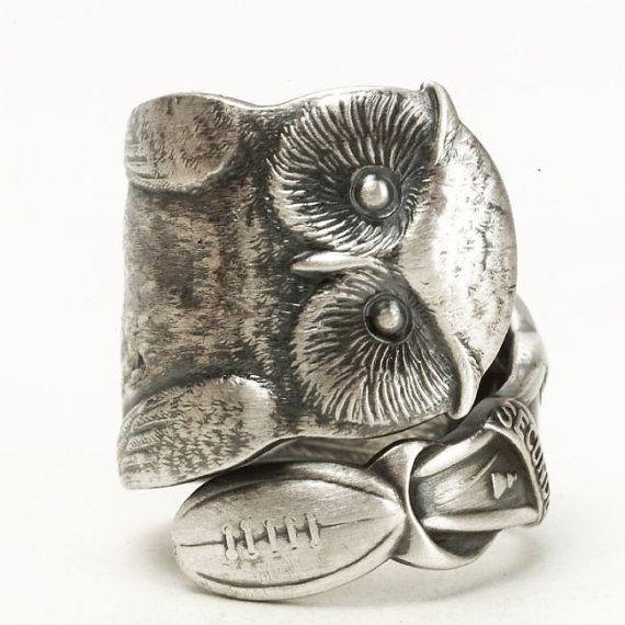 Klobige Eule Ring Sterling Silber Löffel Ring von Spoonier auf Etsy