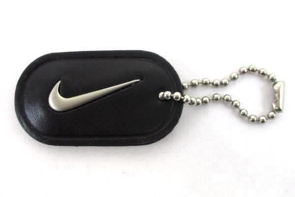 Retro Nike Swoosh Key Chain Hard Leather Black Silver Vintage Advertisement Shoe Nike Black Silver Leather Keychain