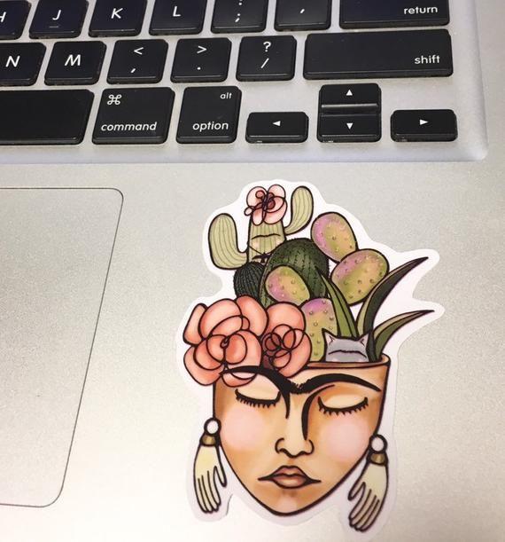 Frida Kahlo Sticker / Flower Pot Vinyl Sticker / Cactus