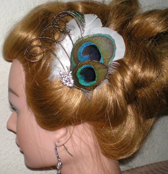 Bridal Hair Fascinator Peacock Hair by BittysJewelryAndMore, $35.00