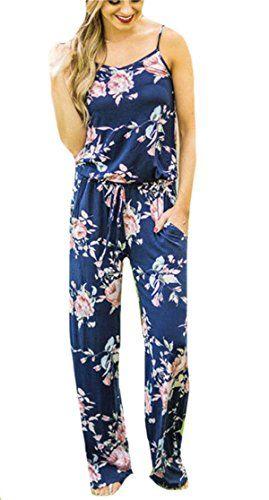 7756171f803 YYear Women Sexy Floral Print Spaghetti Strap Wide Leg Romper Jumpsuits