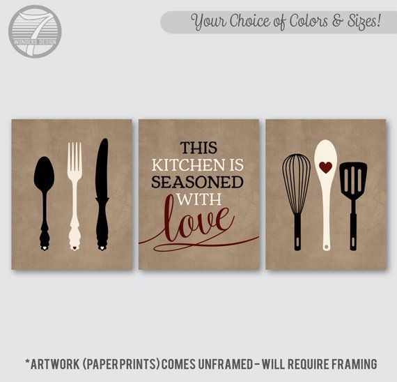 Kitchen Wall Art Print Set Of 3 This Kitchen Is Seasoned With Love Quote Beige Gray Black Cream Kitchen Wall Art Kitchen Decor Wall Art Wall Art Decor Prints