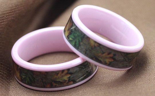 Leafy Camo Wedding Rings
