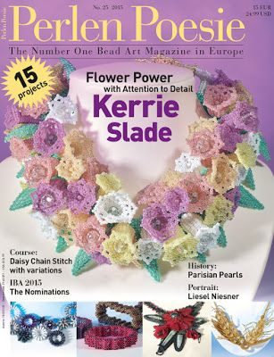 Kerrie Slade - instructions for Garden Party necklace (as seen on the cover) on page 92 of issue 25 of Perlen Poesie. Eleven page artist profile begins on page 10. https://www.perlen-poesie.com