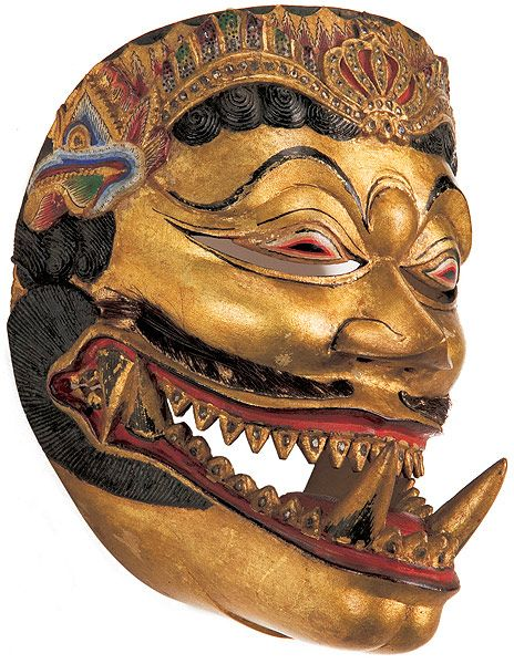 Yogyakarta, Central Java, Indonesia Dance mask of Bhuta Cakil, late 19th century wood, gold, gemstones, leather, horse hair