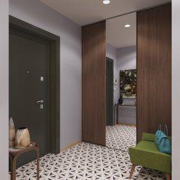 Студия LESH | В прихожей предпочтение отдано холодной отделки пространства, которую разбавляет мебель разного цвета.