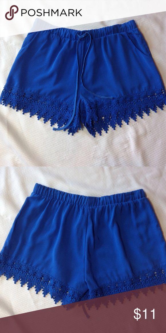 "Lace hem shorts💖 Boutique blue lace hemmed shorts. Never worn, length 13"" includes lace. Drawstring elastic waist. Perfect condition ❣❣ Boutique Shorts"