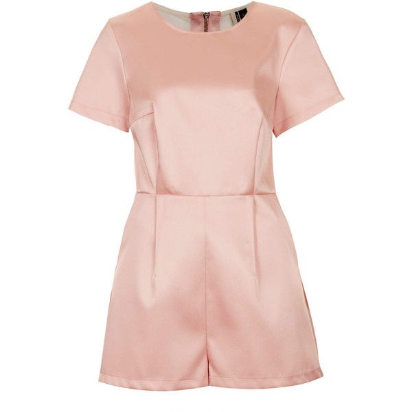 TOPSHOP Mesh Satin Playsuit (813.445 VND) ❤ liked on Polyvore featuring jumpsuits, rompers, playsuits, topshop, jumpsuit, dresses, pale pink, playsuit romper, romper jumpsuit and pink jumpsuit