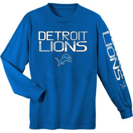 NFL Detroit Lions Youth Long Sleeve Cotton Tee, Boy's, Size: Medium, Blue