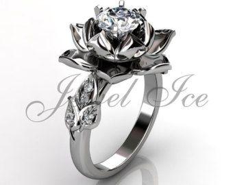 14k dos tono diamante oro blanco y rosa flor inusual anillo de compromiso, anillo de novia, anillo de boda.  Misteriosas y sensuales de flores son una