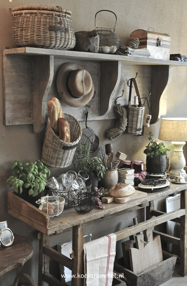 **1** GOT THAT SHELF...KINDA ** Rustic wall unit ideal for a country kitchen, adds a lovely old world charm!
