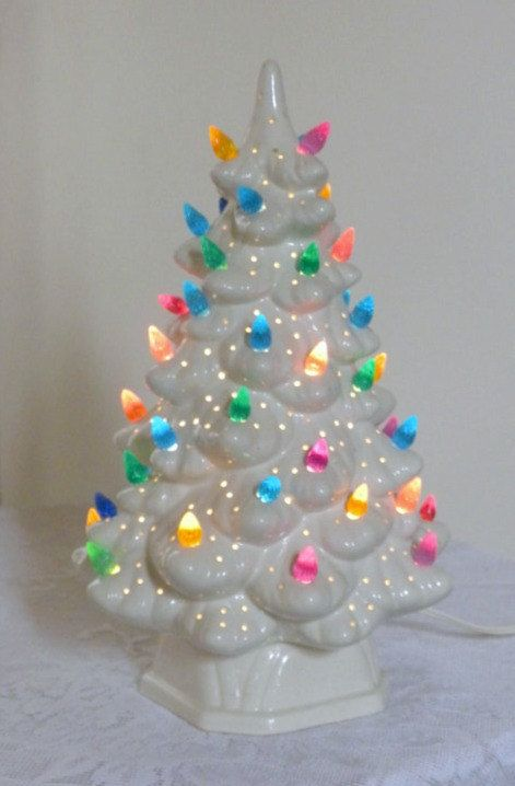 Vintage Ceramic Christmas Tree With Lights 11 Inches