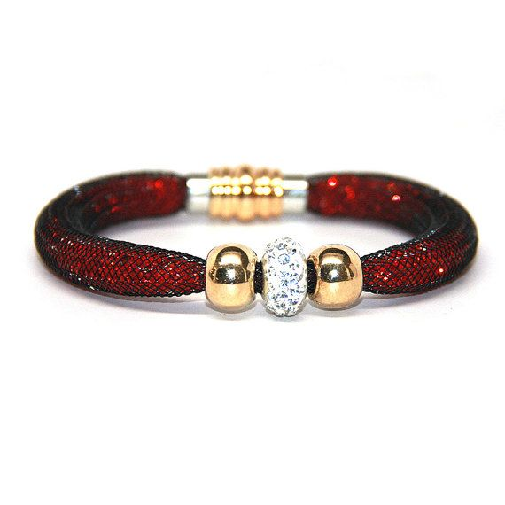 BEAUTIFUL Mesh Crystal Bracelet in Red - FREE SHIPPING!