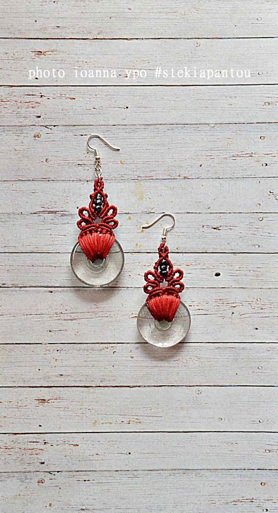 Earrings dangle red medium flower jewelry modern macrame #stekiapantou #ioannaypo #thessaloniki #macrameearrings #macramejewelry #macramejewellery #bohoearrings #bohemianearrings #summerearrings #turqoiseearrings #etsy #macrame #etsyshop #etsyseller #etsyjewelry #etsystore